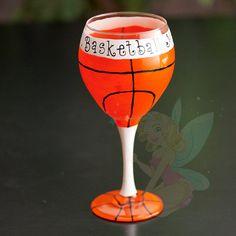 Basketball Mom hand painted Wine glasses Etsy.com/shop/TheSparkleFairies