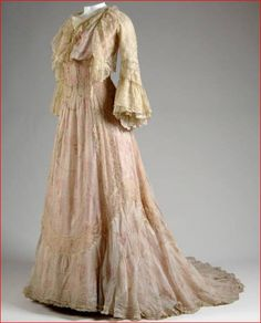 House of Worth, Pink Floral Chiffon Tea Dress. Paris, c. 1900. (View 1)