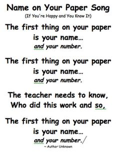 name on your paper song. my kiddies love songs :)