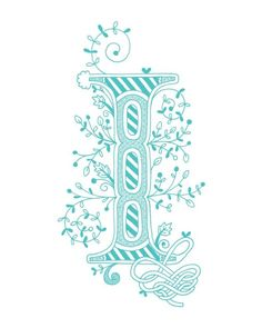 Hand drawn monogrammed print, 8x10, the Letter I, in the color blue