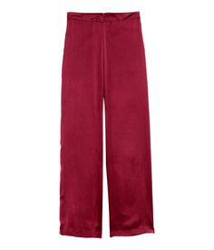 Dark red. Long, wide-cut pajama pants in soft, woven fabric. Concealed zip at back.