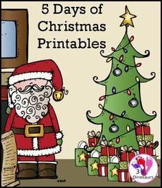 5 Days of Fun Christmas Printables with math, language and other printables with a Christmas theme - 3Dinosaurs.com