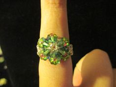 Swarovski Crystal Ring  dark green over watermelon size by jsdd, $10.00