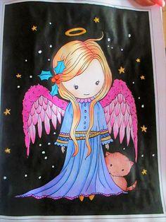 whimsical winter wonderland coloring book by Molly Harrison - pastelky caran d´ache pablo , posca a gansai tambi