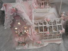 shabby pink victorian christmas  village tree rose shop house chic roses glitter