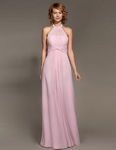 >> Click to Buy << Pink Floor-length Chiffon Bridesmaid Dress 2017 A-line Halter Wedding Party Dresses Vestido De Noiva Summer Formal Dress #Affiliate