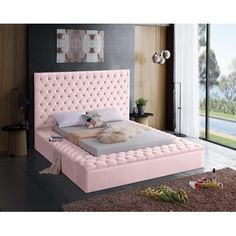 Meridian Furniture Bliss Pink Pink velvet tufted full bed w/ storage Extend elegance to the bedroom Room Ideas Bedroom, Bedroom Themes, Bedroom Decor, Cool Bedroom Ideas, Cozy Bedroom, Master Bedroom, Upholstered Platform Bed, Upholstered Beds, Tufted Bed