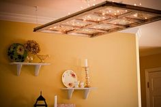 (As living room light,or with flowers in dining room) pretty window idea! you will be surprised by the amount of light that you actually get! Antique Windows, Old Windows, Vintage Windows, Barn Windows, Window Art, Window Frames, Window Frame Ideas, Window Pane Crafts, Window Pane Decor