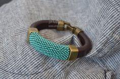 Armband Aquamarin Lakritz / Leder Schnur Armreif mit von Rainboway