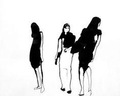 """Saatchi Art Artist Sylvia Baldeva; Painting, """"Three women - Ink"""" #art"""