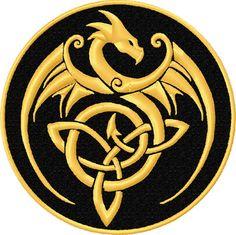 Gold Dragon Celtic Knot Patch - Celtic Knot Dragon Patch - Celtic Dragon Patch #Unbranded