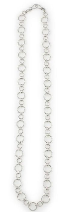 """Simplicity - 43.5"""" silver hoops in varying dimensions make it easy to add subtle depth to any outfit. Mialisia - http://carolyn.mialisia.com/"""
