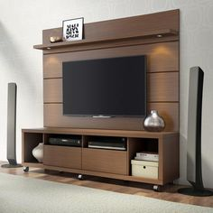 Cabrini TV Stand and Floating Wall TV Panel with LED Lights 1.8 in  Nut Brown - Simply Stand