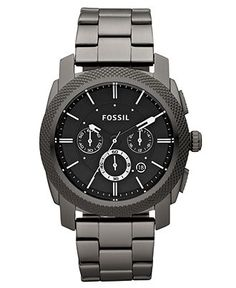 Fossil Watch, Men's Chronograph Machine Gray Plated Stainless Steel Bracelet 45mm FS4662 - Men's Watches - Jewelry & Watches - Macy's