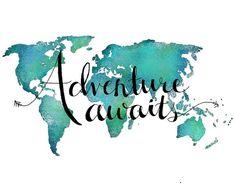 Travel Art Print – World Map Art Print Adventure Art – Travel Quote Print – Wanderlust World Map – Typography Art Inspirational Quotes - New Site Adventure Quotes, Adventure Awaits, Adventure Travel, Adventure Holiday, Word Adventure, Travel Words, Travel Quotes, Travel Posters, Friedrich Nietzsche