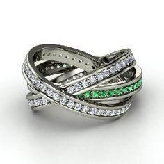 Brilliant Triple Rolling Rings, White Gold Ring with Emerald