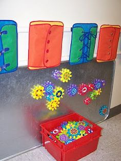 Magnet board made from an oil drip pan!  Can paint it with chalk board paint also.