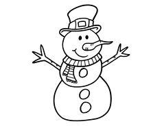 Dibujo de Muñeco de nieve con sombrero para Colorear - Dibujos.net