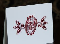 Red and White quilled card. $8.00, via Etsy.
