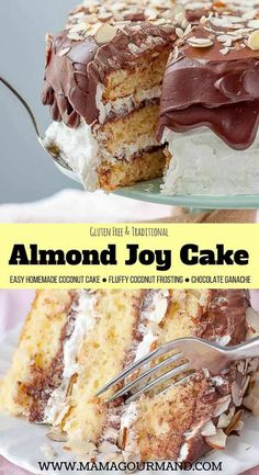 ***Almond Joy Cake ~ takes the best candy bar out there and transforms it into an unbelievably decadent layer cake! An easy, homemade coconut cake is layered with fluffy coconut frosting and filling, toasted almonds, and chocolate ganache. Just Desserts, Delicious Desserts, Dessert Recipes, Pavlova, Almond Joy Cake, Almond Joy Cookies, Almond Joy Brownies, Almond Joy Cupcakes, Best Candy Bar