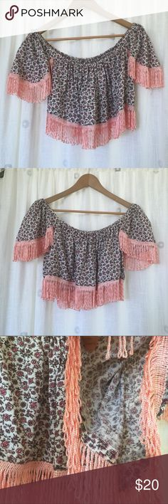 Homemade Top Cute homemade top with small flowers! Like new! My brand Hefzi-ba Hefzi-ba  Tops Crop Tops