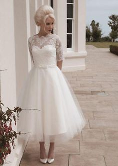 271360854b2 New White Ivory Tea length Wedding Dresses Short Sleeve A Line Bridal Gowns  Lace Ball