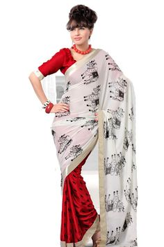 Satin Party Wear Saree with Blouse Fabric - Satin Color - White,Red Reference : VLR205 http://valehri.com/sarees/581-satin-party-wear-saree-with-blouse.html