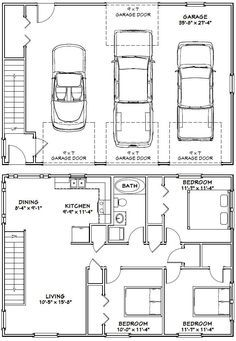 Garage dimensions google search andrew garage for 3 car garage size square feet