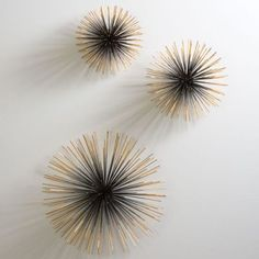 Boom Wall Sculpture from Global Views are sold as set of 3 which includes 1 small, medium and large burst. Brass finished iron creates whimsical display in any room. Bursts of glitzy glam!