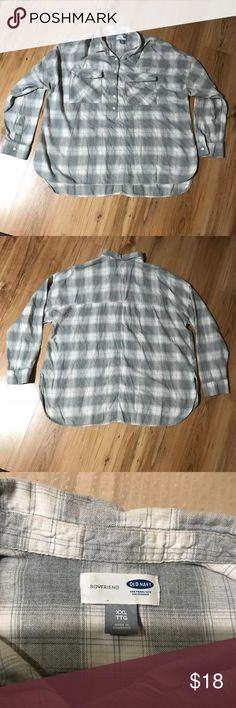 Old Navy Boyfriend flannel shirt size XXL EUC gray boyfriend flannel shirt by Old Navy size XXL. It is a pull over with buttons at the top. Armpit to armpit is 27 1/2 inches. Sleeve is 18 1/2 inches long. Hem is longer in back as shown in photo 5. Old Navy Tops Button Down Shirts