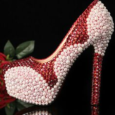 92.39$  Buy now - http://aliczj.worldwells.pw/go.php?t=1945841418 - Handmade crystal beaded rhinestone high heel female lady's Women Bridal Evening shoe Prom Party club Bar Bridesmaid shoes