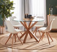 Features the classic Toto chair, this smart dining set gives the popular designer inspired look for an extremely affordable price. Shop now, only at Fantastic Furniture! Dining Table Small Space, Circular Dining Table, Glass Round Dining Table, Dining Sets, Dining Decor, Dining Furniture, Living Room Decor, Deco Boheme, Decoration