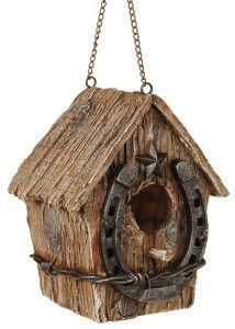 Rustic Bird House - Love the horseshoe at the entrance!