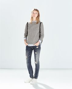 Image 1 of RIPPED SLIM FIT TROUSERS from Zara