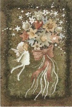 Zeg het met bloemen Faeries, Cosmos, Painting, Illustration, Elves, Magick, Fairies, Painting Art, Paintings