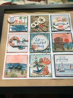 Beach Scrapbook Layouts, Scrapbooking Layouts, Collage Frames, Collages, Nautical Cards, Beach Cards, Shadow Box Frames, Candy Cards, Stamping Up Cards