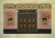 George Aitchison - Design for the decorative scheme for the Front Drawing Room, 15 Berkeley Square, London