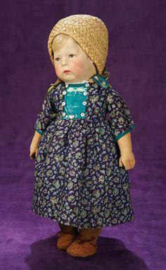 German Cloth Character, Type I, by Kathe Kruse in Flowered Dress 1800/2500 Auctions Online | Proxibid