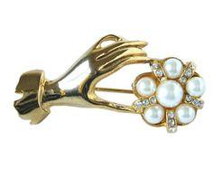 Vintage Hand Brooch Pearl Brooch Rhinestone Brooch Victorian Brooch Vintage Hand Pin Vintage Brooch Art Deco Brooch Gold Hand Brooch