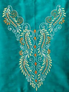 Embroidery On Kurtis, Embroidery Neck Designs, Hand Embroidery Videos, Hand Embroidery Flowers, Embroidery Works, Indian Embroidery, Hand Embroidery Stitches, Embroidery Techniques, Kasuti Embroidery