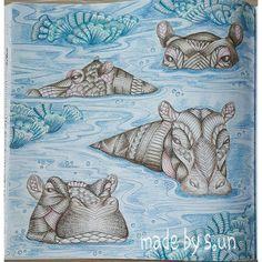 The Hippos Are Done Milliemarotta Fantastischewildnis Wildsavannah Coloringbookforadults Coloringbook