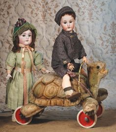 German Bisque Doll By Ernst Heubach....check out the awesome turtle!!!