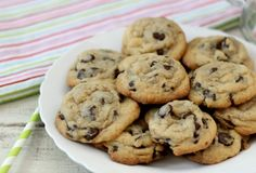 Dark Chocolate Chip Chewy Cookies - A dark, rich, chocolaty, gooey, chewy chocolate chip cookie made with extra dark chocolate chips. Only 84 calories a cookie. Chewy Chocolate Chip Cookies, Dark Chocolate Chips, Play Food Set, Baking Pans, Christmas Cookies, Brown Sugar, Good Food, Sweet, Desserts