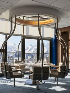 Club Med might be better known for its beachy destinations, but the Club Med Alpe d'Huez in the French Alps is set to entice snow bunnies to the so-cal. Magazine Design, Interior Design Magazine, Driftwood Flooring, Alpe D Huez, Custom Headboard, New Interior Design, Dining Nook, Custom Rugs, Restaurant Design
