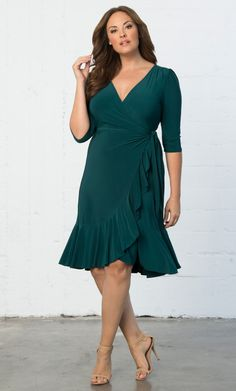 Check out the deal on Whimsy Wrap Dress at Kiyonna Clothing Plus Size  Cocktail Dresses 92cc248eef5b