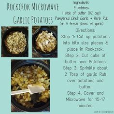 Garlic Potatoes in your Pampered Chef RockCrok. This can be made in your crock p… Garlic Potatoes in your Pampered Chef RockCrok. This can be made in your crock pot or pot. It just takes longer to cook. Pampered Chef Party, Pampered Chef Recipes, Baker Recipes, Cooking Recipes, Pampered Chef Products, Rockcrok Recipes, Crockpot Recipes, Soup Recipes, Yummy Recipes