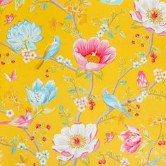 Discover the Pip Studio Chinese Garden Wallpaper - 341006 Yellow at Amara Garden Wallpaper, Bird Wallpaper, Trendy Wallpaper, Bedroom Wallpaper, Floral Wallpapers, Wallpaper Backgrounds, Yellow Flower Wallpaper, Floral Pattern Wallpaper, Chinese Wallpaper