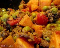 Keema Mattar- curried beef and sweet potatoes