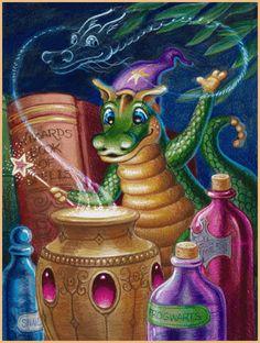 Midnight Magic--by Randal Spangler Dragon Cat, Baby Dragon, Magical Creatures, Fantasy Creatures, Christmas Dragon, Dragon Dreaming, Randal, Dragon Images, Artwork Online