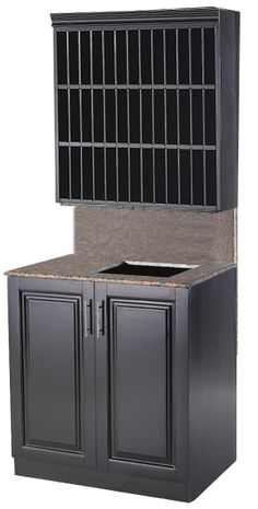 Chelsea Color Bar with Sink and Upper Color Storage in Black